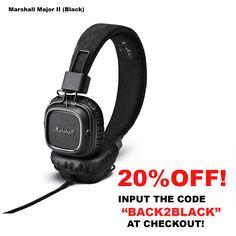 Marshall Major II with Mic (Black) Marshall Major, Black, Black People
