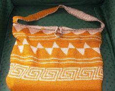 Tapestry crochet tote bag ~ free pattern Crochet Knit Mesh Hand Shoulder Market Tote Bags & Purse
