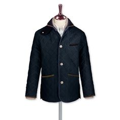 Navy canvas quilted coat | Men's coats from Charles Tyrwhitt | CTShirts.com