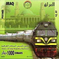 timbres du monde trains/Timbre train - IQ004.10 Iraq 25 Janvier 2010 Anniversaire des chemins de fer iraquiens.jpg