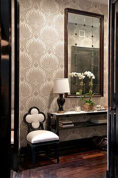 Wallpaper, mirror, console table & chair