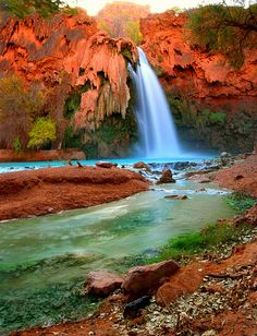 Havasu Falls, Havasupai tribe (Grand canyon region), Arizona.
