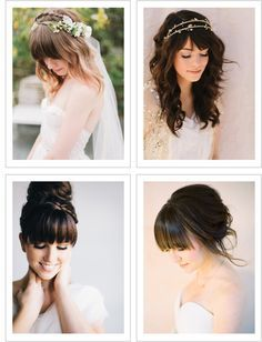 There's nothing like a bride who works their everyday hairstyle on their wedding day - especially when they have beautiful bangs! Pair your bangs with a loose up-do, a ballerina bun or soft curls and you'll having the makings for a gorgeous bridal look!  1 | 2 | 3 | 4