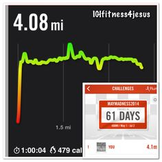 5/1/14: May madness challenge - 4.1 miles + 40 sec wall sit + 40 pushups