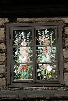 Painted windows, Stara Jelesnia, Beskid Zywiecki, Poland