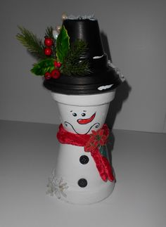 """Terra Cotta Flower Pot Christmas Decoration """"Snowman"""" by SoulCreation777 on Etsy"""