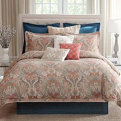 Create a relaxed space in your bedroom with the B. Smith Tillery Comforter Set. Decorated with a beautifully painted tapestry pattern, the ornate bedding instantly brings a luxurious combination of color and texture to your bed.  ??? is bed skirt denim ???