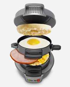 Breakfast Sandwich Maker Make delicious breakfast sandwiches in less than five minutes. Simply place fresh ingredients into the breakfast sandwich maker and close the lid. Your sandwich will cook and assemble itself.