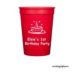 1st Birthday Personalized Stadium Plastic Cups -   - Pink Poppy Party Shoppe - 1