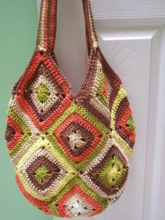 59 Ideas Crochet Granny Square Purse Totes Ravelry For 2019 Easy Crochet Stitches, Crochet Motif Patterns, Granny Square Crochet Pattern, Crochet Granny, Knit Crochet, Ravelry Crochet, Ravelry Free, Crochet Baby Beanie, Baby Afghan Crochet
