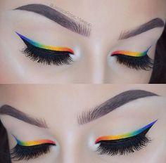eyeliner rainbow perfect brows Rainbow eyeliner Perfect browsYou can find Pride makeup looks and more on our website Makeup Eye Looks, Eye Makeup Art, Cute Makeup, Eyeshadow Makeup, Makeup Inspo, Eyeshadow Palette, Glitter Eyeshadow, Dark Eyeshadow, Eyeshadows