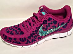 Nike Free 5.0 v4 with Aqua AB Swarovski crystal details Pink/Purple cheetah by HarrietHazelDesigns on Etsy