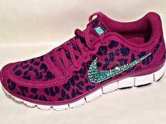 Nike Free 5.0 v4 with Aqua AB Swarovski crystal details Pink/Purple cheetah by HarrietHazelDesigns on Etsy