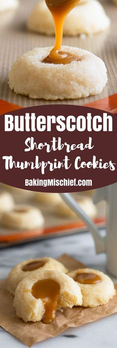Classic shortbread thumbprint cookies with delicious homemade butterscotch filling. From http://BakingMischief.com