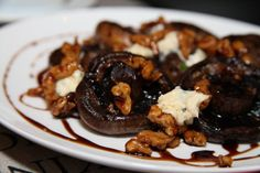 Roasted mushrooms, gorgonzola, caramelized walnuts, pedro ximenez reduction Spanish Tapas Dinner Party Lydia Guerrini Masterchef Australia 2012 Absolutely Georgeous
