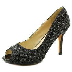 "Vince Camuto Paulete Women US 8 Silver Peep Toe Heels. The style name is Paulete. The style number is PAULETE-BLK. Brand Color: Black (Main Color: Black). Material: Synthetic. Measurements: 4"" heel. Width: B(M)."
