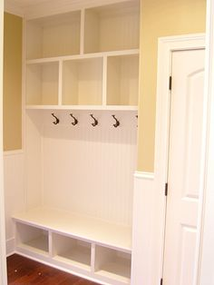 Mudroom for small space--minus hooks Home Renovation, Home Remodeling, Mudroom Laundry Room, Closet Mudroom, Built Ins, Home Organization, Home Projects, Small Spaces, Sweet Home