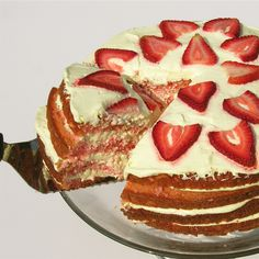 Moist strawberry cake layered with a rich lemonade cream filling.  Introducing summer——on a plate! INGREDIENTS: One box of strawberry cake mix (plus oil, water and eggs as directed on b…