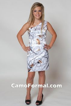White camo dress with a one shoulder strap!!!!!!!! Another dress that would look cute with a pair of boots