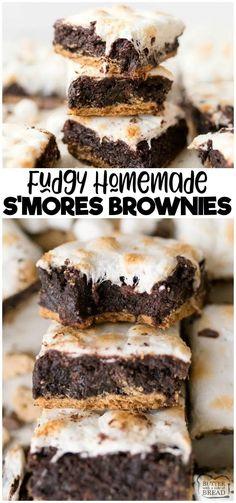 Marshmallow Brownies, Smores Brownies, Homemade Brownies, Best Brownies, S Mores Bars, Lemon Brownies, Brownie Cupcakes, Marshmallow Cream, Banana Cupcakes