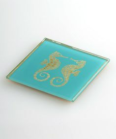 Look what I found on #zulily! Glass Sea Horse Coaster - Set of Four. only $25!  Swank, great color.