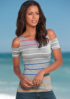 GREY MULTI Multi colored stripe top from VENUS  http://www.venus.com/viewproduct.aspx?BRANCH=351~4696~&ProductDisplayID=21467