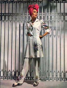 Vogue, 1941 designer fashion style vintage color photo print ad magazine pant suit 40s lounge wear turban white floral peplum skirt slim shoes war era WWII