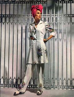 Vogue, 1941 designer fashion style vintage color photo print ad magazine pant suit 40s lounge wear turban white floral peplum skirt slim shoes war era WWII