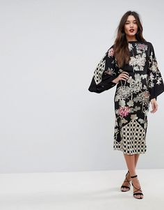 1d825e8acc ASOS Patchwork Embroidered Kimono Midi Dress at asos.com