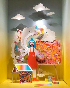 Visual Merchandising Displays, Visual Display, Window Display Design, Diy Crafts For Home Decor, Exhibition Display, Window Art, Commercial Design, Installation Art, Paper Art