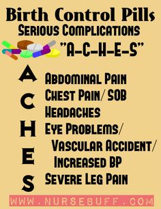 Oral contraceptive or birth control pills are composed of hormonal pills used to prevent unwanted pregnancy. In using birth control pills regularly, there are serious complications that should be closely observed. These serious complications can be easily remembered with the acronym ACHES – abdominal pain, chest pain, headache, eye problems and severe leg pain. These signs and symptoms are indicative of CVA, hypertension and thromboembolic crisis.