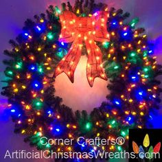 5 Foot 60 Inch Multi Color C6 L E D Christmas Wreath With Pre Lit Red Bow