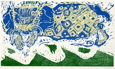 The Mercy of God - Woodblock & Linocut by Holly Meade 2012 - There is a quote written along the bottom of this print that reads: all the wickedness in the world which man may do or think is no more to the mercy of God than a live coal dropped in the sea
