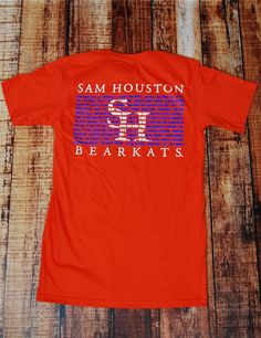 Here at SHSU, we appreciate our traditions.. so much so that we put several of them on our tee! Show your tradition pride in this orange shirt! GO BEARKATS!!!