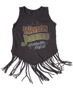 Waylon Jennings Nashville Rebel Fringe Kids Tank - Vintage Black