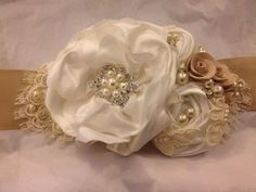 Champagne and Ivory Flower, Pearl, Crystal, and Lace  Wedding Sash/Wedding Belt