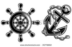 ship steering wheel and anchor