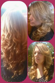 Medium golden brown with highlights . Big curls