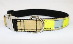 Firefighter Dog Collar Tan/yellow refector by rekindledpride Firefighter Apparel, Firefighter Gifts, Fire Hose Crafts, Recycled Gifts, Dog Wear, Aluminum Metal, Metal Buckles, Recycling, Firefighters