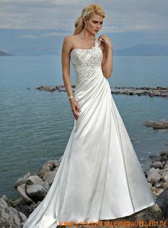 Reichhaltiges Luxus-line Kleid mit einem Ausschnitt-Schulter-Brautkleider