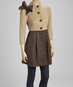 Loving this Camel Two-Tone Bow Button-Up Coat on #zulily! #zulilyfinds