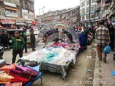 Busy market on road in srinagar Kashmir India