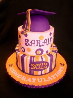 Purple Gold Graduation Cake by valscustomcakes, via Flickr