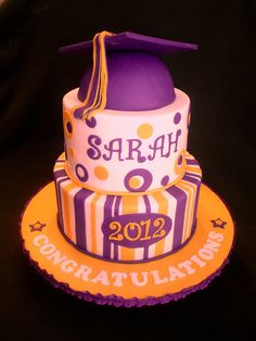 Purple Gold Graduation Cake by valscustomcakes, via Flickr