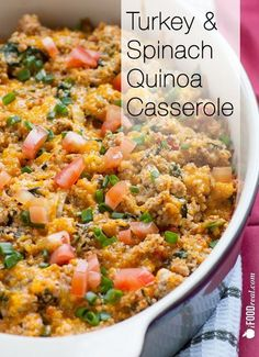 Healthy Turkey & Spinach Quinoa Casserole. Full of complete protein, essential amino acids, iron, vitamins A, K, C, E , calcium and cancer fighting abilities. Only 294 calories & 7 WW Points+ for a full meal. Fills you up with good quality calories and helps the weight loss. Recipe from iFOODreal.