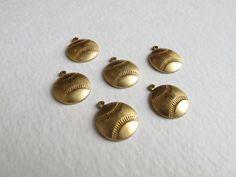 [GLENN]  Brass Baseball Charms 8X M701 by EpochBeads on Etsy