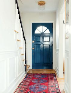 By using Full Gloss, Stiffkey Blue front door creates a stunning statement at the end of her hallway. Best Front Door Colors, Best Front Doors, Front Door Paint Colors, Painted Front Doors, Front Door Design, Inside Front Doors, Front Door Entryway, Front Door Decor, Entrance Doors