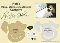 felt dog - you could use the plastic from a milk jug Dog Crafts, Felt Crafts, Sewing Crafts, Sewing Projects, Crafts For Kids, Paper Crafts, Felt Patterns, Craft Patterns, Felt Bookmark