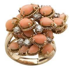1stdibs - Angel Skin Coral and Diamond Ring explore items from 1,700  global dealers at 1stdibs.com