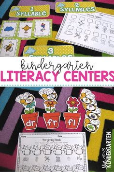 Grab these spring kindergarten math and literacy centers! Students will love the cheerful additions to their rotations! The hands-on printables will feel more like play than learning! #sightwords #organization